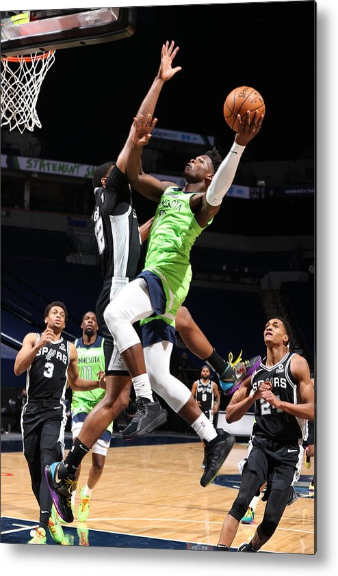 Nba Pro Basketball Metal Print featuring the photograph San Antonio Spurs v Minnesota Timberwolves by David Sherman