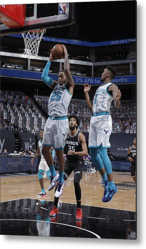 Nba Pro Basketball Metal Print featuring the photograph Charlotte Hornets v Sacramento Kings by Rocky Widner