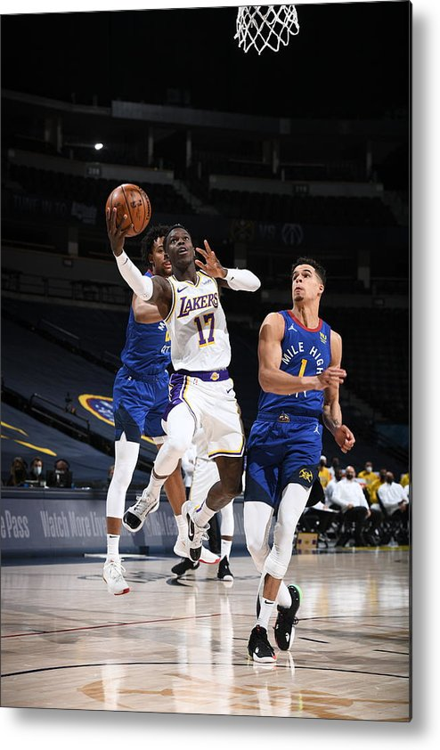 Nba Pro Basketball Metal Print featuring the photograph Los Angeles Lakers v Denver Nuggets by Garrett Ellwood