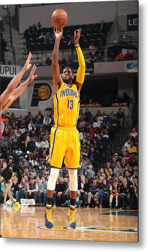 Nba Pro Basketball Metal Print featuring the photograph Paul George by Ron Hoskins