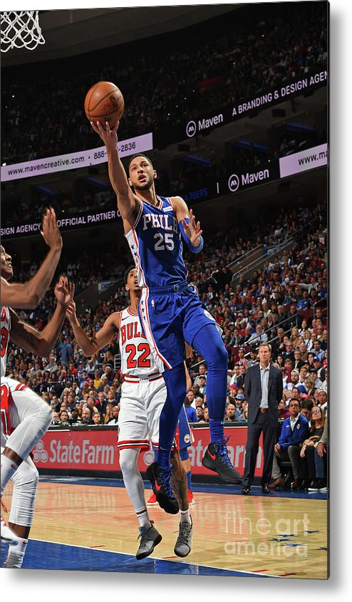 Nba Pro Basketball Metal Print featuring the photograph Ben Simmons by David Dow