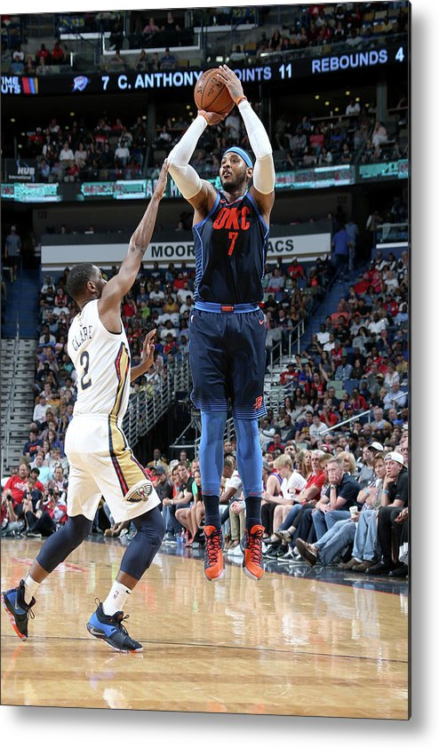 Smoothie King Center Metal Print featuring the photograph Carmelo Anthony by Layne Murdoch