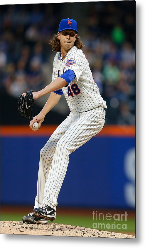 Jacob Degrom Metal Print featuring the photograph Jacob Degrom by Mike Stobe