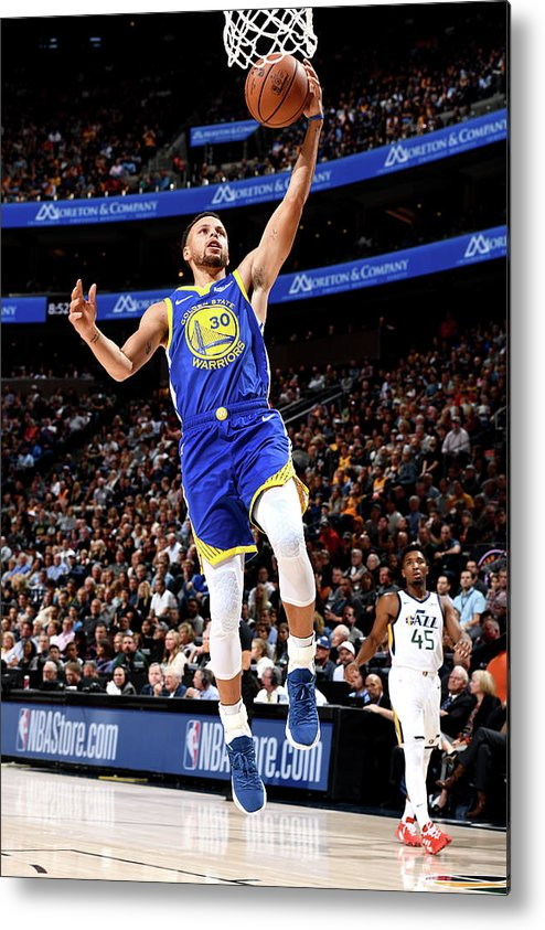 Nba Pro Basketball Metal Print featuring the photograph Stephen Curry by Garrett Ellwood