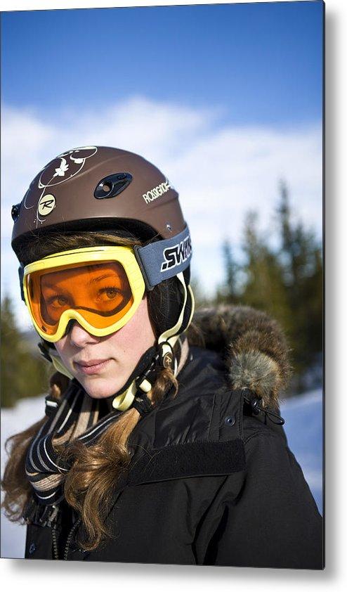 Crash Helmet Metal Print featuring the photograph A girl wearing ski goggles Sweden. by Ulf Huett Nilsson