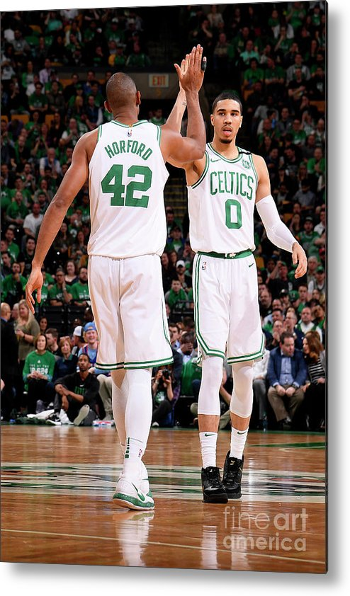 Playoffs Metal Print featuring the photograph Al Horford and Jayson Tatum by Brian Babineau