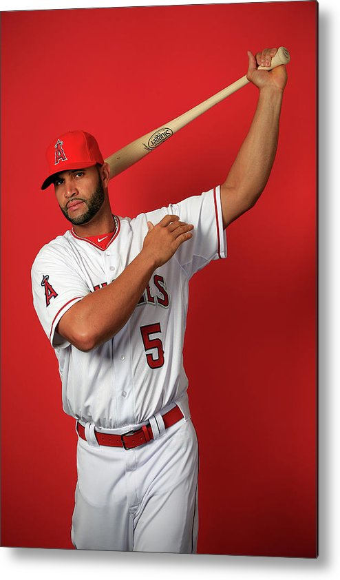 Media Day Metal Print featuring the photograph Albert Pujols by Jamie Squire