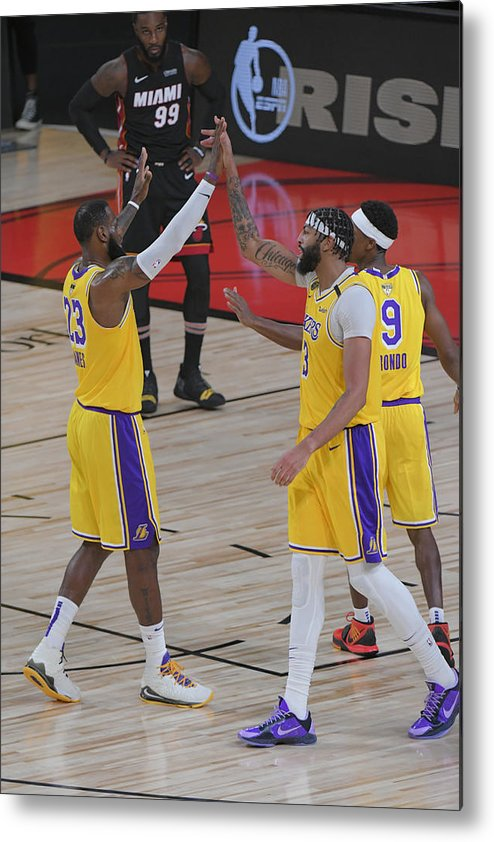 Playoffs Metal Print featuring the photograph Anthony Davis and Lebron James by Fernando Medina