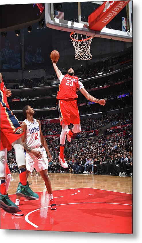 California Metal Print featuring the photograph Anthony Davis and Rajon Rondo by Andrew D. Bernstein