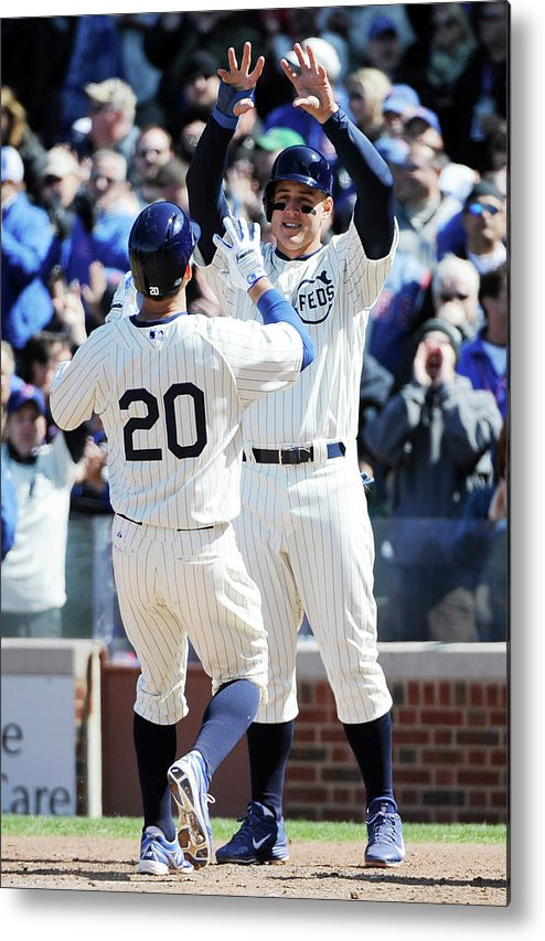 National League Baseball Metal Print featuring the photograph Anthony Rizzo and Justin Ruggiano by David Banks