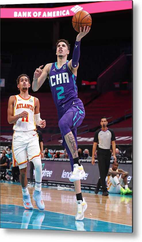 Nba Pro Basketball Metal Print featuring the photograph Atlanta Hawks v Charlotte Hornets by Brock Williams-Smith