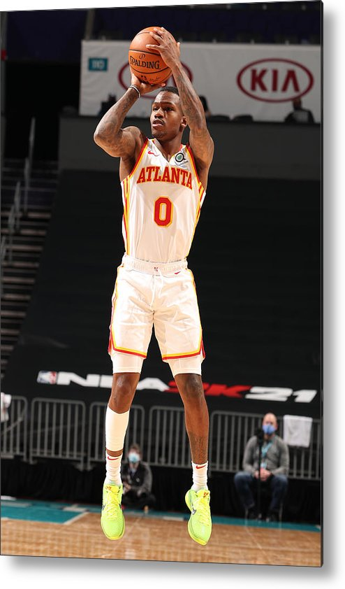 Nba Pro Basketball Metal Print featuring the photograph Atlanta Hawks v Charlotte Hornets by Kent Smith