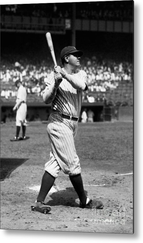 American League Baseball Metal Print featuring the photograph Babe Ruth by Kidwiler Collection