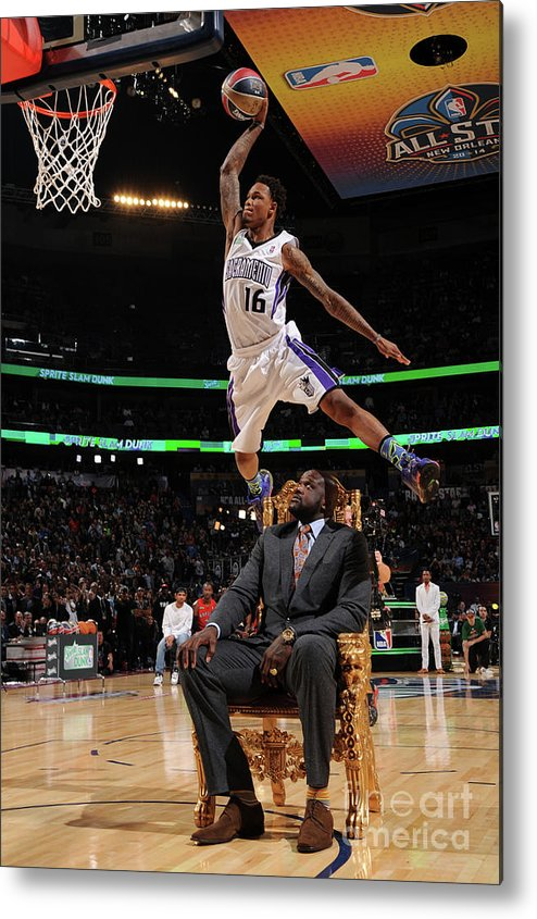 Smoothie King Center Metal Print featuring the photograph Ben Mclemore and Shaquille O'neal by Andrew D. Bernstein