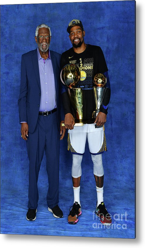 Playoffs Metal Print featuring the photograph Bill Russell and Kevin Durant by Jesse D. Garrabrant