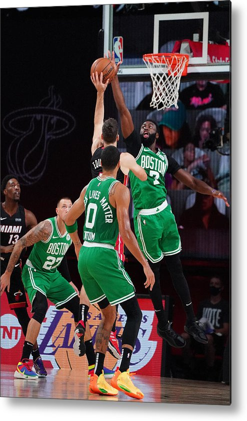 Playoffs Metal Print featuring the photograph Boston Celtics v Miami Heat - Game Three by Jesse D. Garrabrant