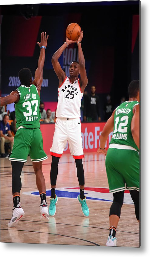 Nba Pro Basketball Metal Print featuring the photograph Boston Celtics v Toronto Raptors by Bill Baptist