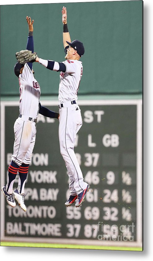 People Metal Print featuring the photograph Brandon Guyer and Francisco Lindor by Adam Glanzman