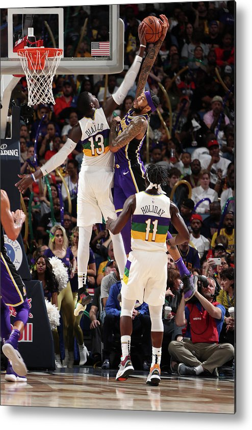 Smoothie King Center Metal Print featuring the photograph Brandon Ingram and Cheick Diallo by Nathaniel S. Butler