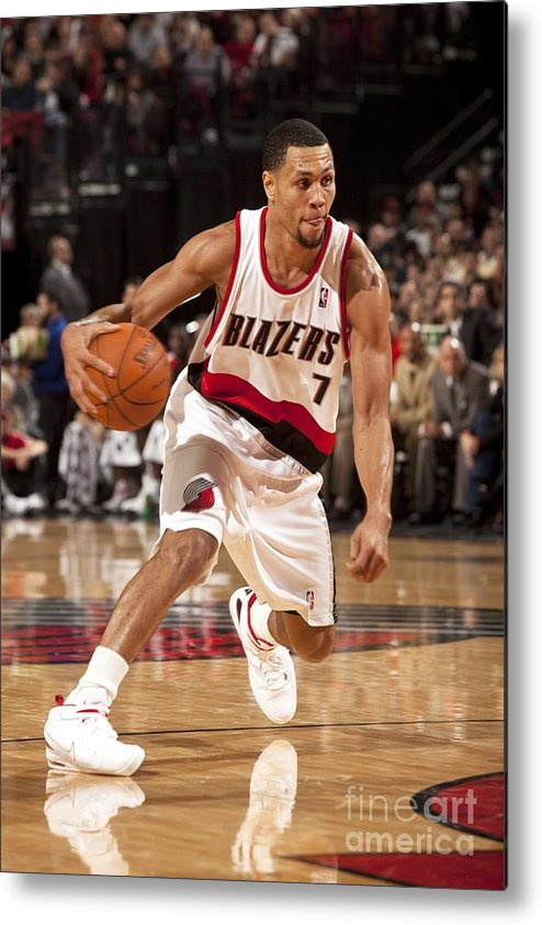 Nba Pro Basketball Metal Print featuring the photograph Brandon Roy by Cameron Browne