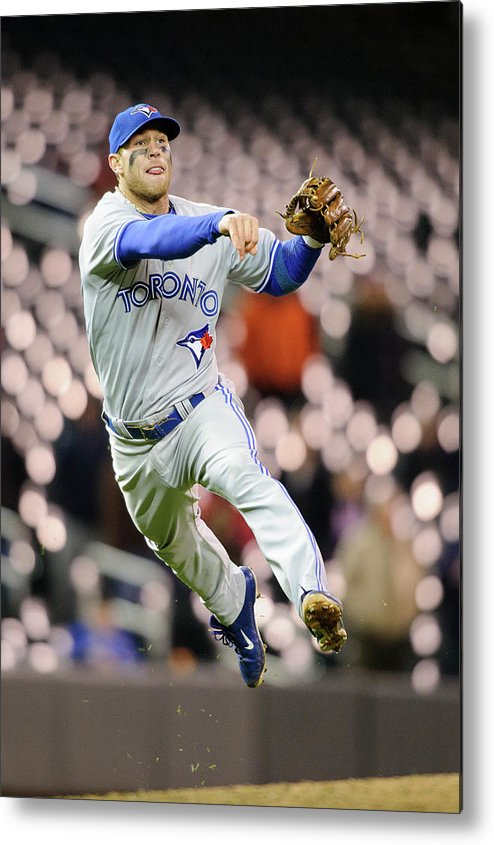 Game Two Metal Print featuring the photograph Brett Lawrie by Hannah Foslien