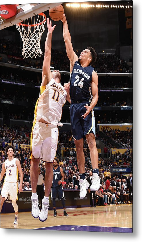 Nba Pro Basketball Metal Print featuring the photograph Brook Lopez and Dillon Brooks by Andrew D. Bernstein