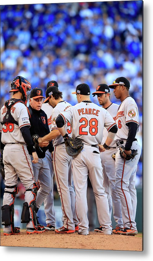 American League Baseball Metal Print featuring the photograph Buck Showalter by Jamie Squire
