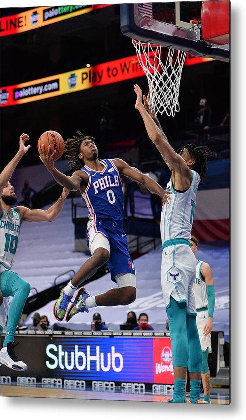 Nba Pro Basketball Metal Print featuring the photograph Charlotte Hornets v Philadelphia 76ers by David Dow