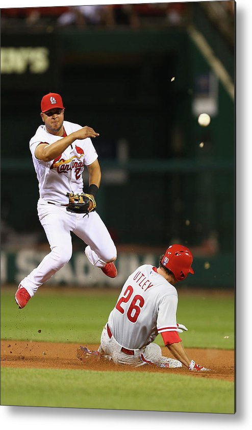 St. Louis Cardinals Metal Print featuring the photograph Chase Utley and Jhonny Peralta by Dilip Vishwanat