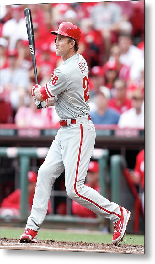 Great American Ball Park Metal Print featuring the photograph Chase Utley by Joe Robbins
