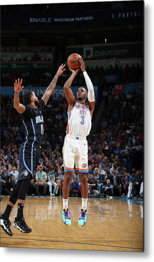 Nba Pro Basketball Metal Print featuring the photograph Chris Paul and D.j. Augustin by Zach Beeker