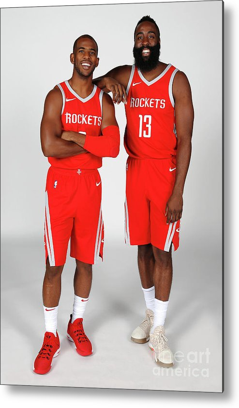 Media Day Metal Print featuring the photograph Chris Paul and James Harden by Nba Photos