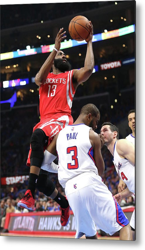 Playoffs Metal Print featuring the photograph Chris Paul and James Harden by Stephen Dunn