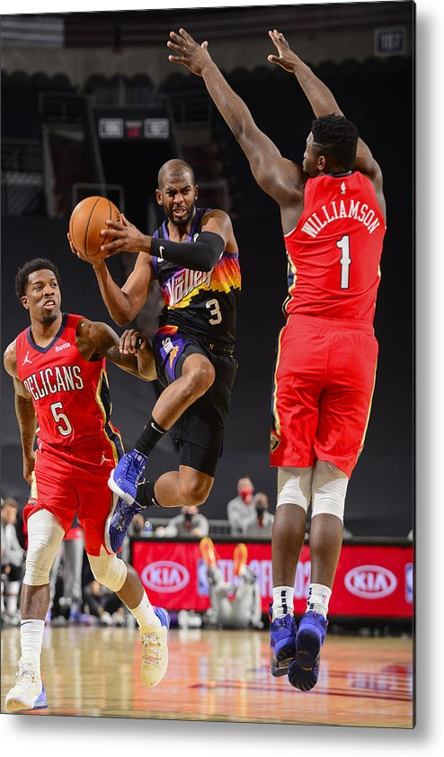 Nba Pro Basketball Metal Print featuring the photograph Chris Paul and Zion Williamson by Barry Gossage