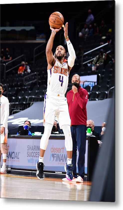 Nba Pro Basketball Metal Print featuring the photograph Cleveland Cavaliers v Phoenix Suns by Michael Gonzales