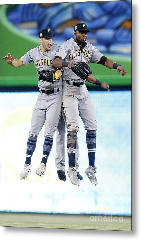 People Metal Print featuring the photograph Corey Dickerson, Starling Marte, and Gregory Polanco by Michael Reaves