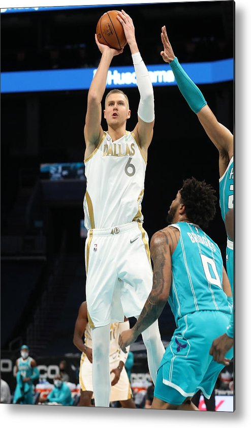 Nba Pro Basketball Metal Print featuring the photograph Dallas Mavericks v Charlotte Hornets by Brock Williams-Smith