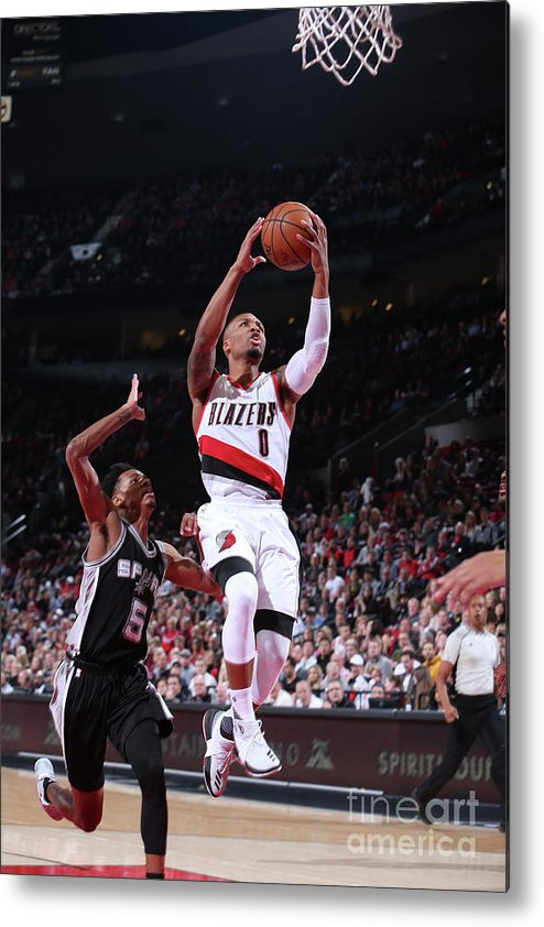 Nba Pro Basketball Metal Print featuring the photograph Damian Lillard and Dejounte Murray by Sam Forencich