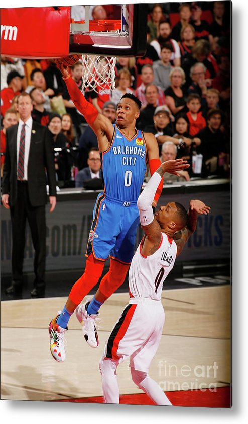 Playoffs Metal Print featuring the photograph Damian Lillard and Russell Westbrook by Cameron Browne