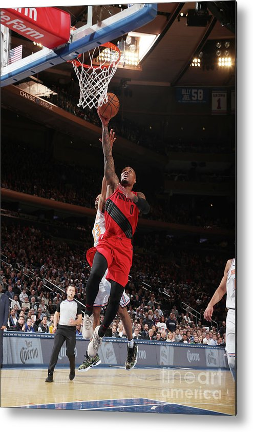Nba Pro Basketball Metal Print featuring the photograph Damian Lillard by Nathaniel S. Butler