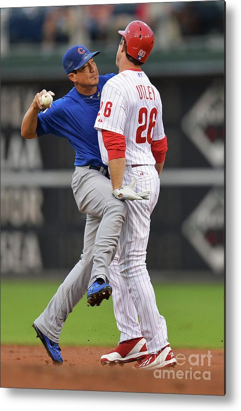 Double Play Metal Print featuring the photograph Darwin Barney and Chase Utley by Drew Hallowell