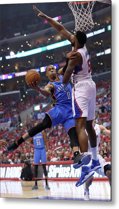 Playoffs Metal Print featuring the photograph Deandre Jordan and Russell Westbrook by Stephen Dunn