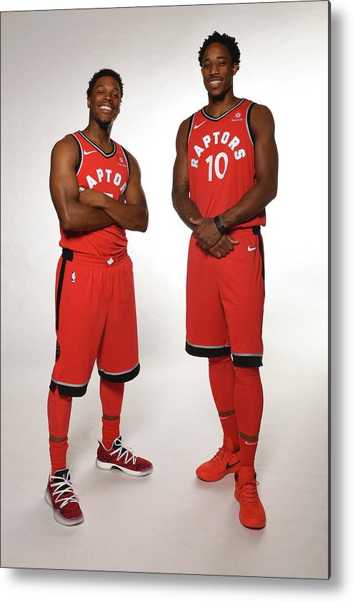 Media Day Metal Print featuring the photograph Demar Derozan and Kyle Lowry by Ron Turenne