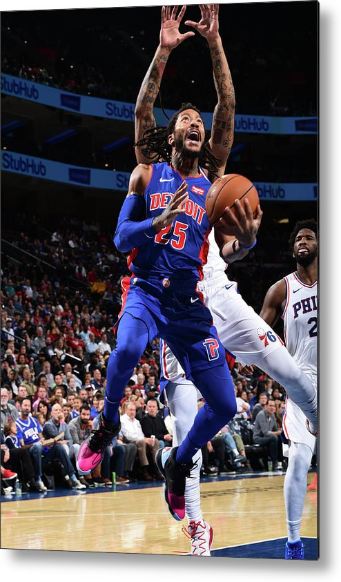 Nba Pro Basketball Metal Print featuring the photograph Derrick Rose and Joel Embiid by David Dow