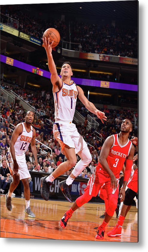 Nba Pro Basketball Metal Print featuring the photograph Devin Booker and Chris Paul by Barry Gossage