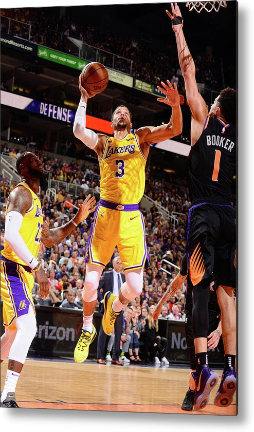 Nba Pro Basketball Metal Print featuring the photograph Devin Booker and Josh Hart by Barry Gossage