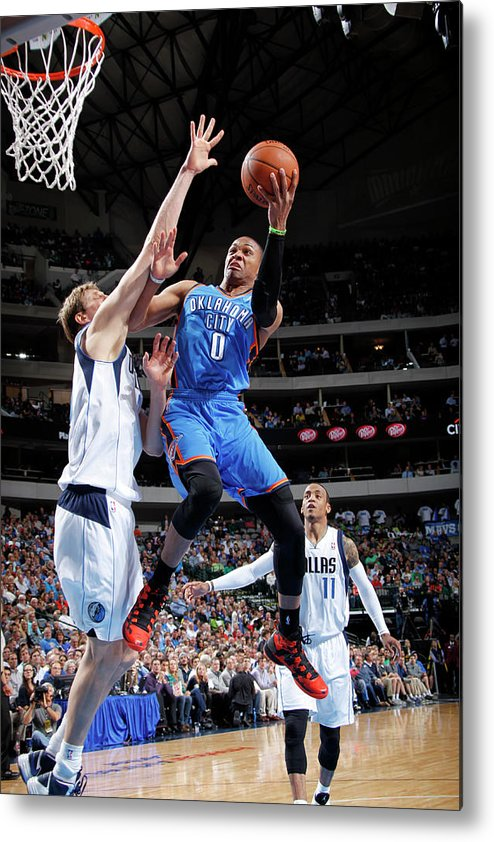 Nba Pro Basketball Metal Print featuring the photograph Dirk Nowitzki and Russell Westbrook by Glenn James