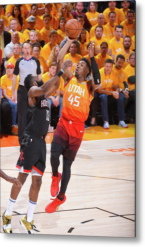 Playoffs Metal Print featuring the photograph Donovan Mitchell and James Harden by Bill Baptist