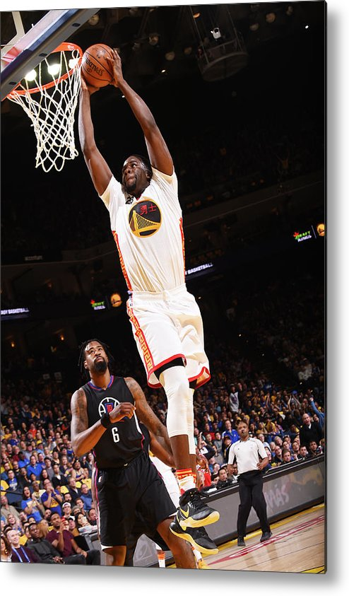 Nba Pro Basketball Metal Print featuring the photograph Draymond Green and Deandre Jordan by Noah Graham