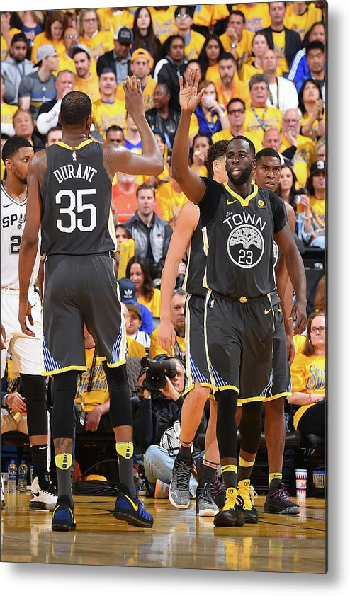 Playoffs Metal Print featuring the photograph Draymond Green and Kevin Durant by Andrew D. Bernstein